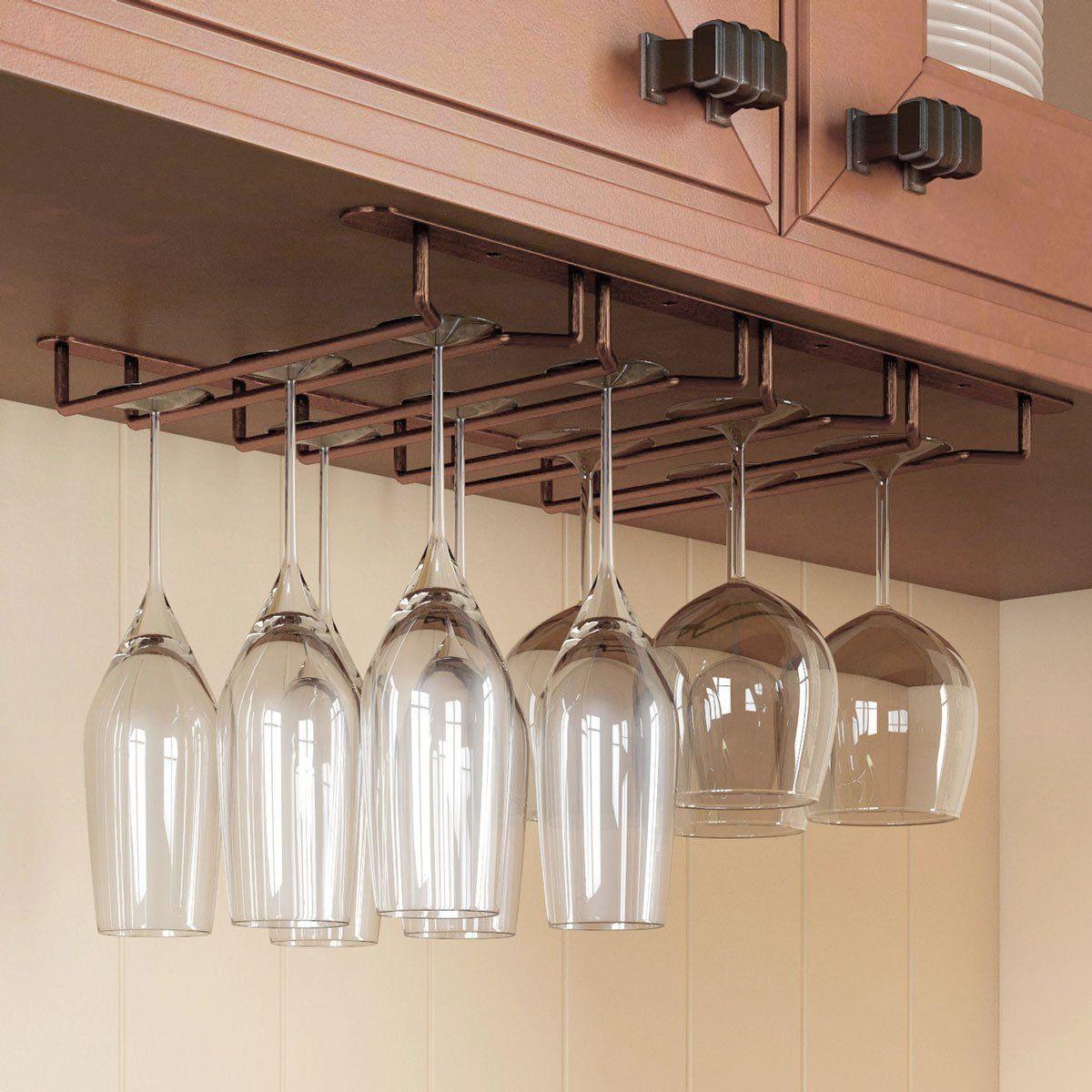 DIY Wine Glass Rack Under Cabinet  Amazon Rack and Hook Stemware Glass Rack Under