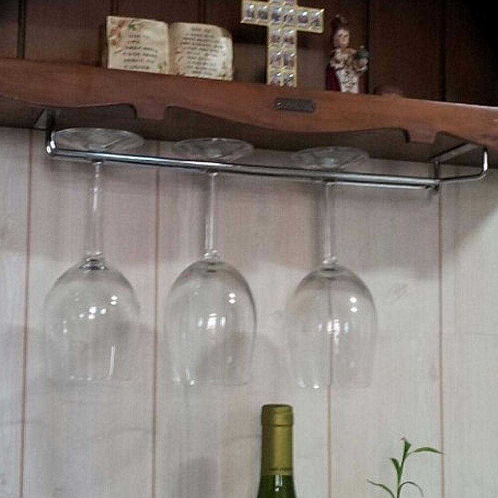 DIY Wine Glass Rack Under Cabinet  Hanging Wine Glass Rack Drinking Glasses Storage Under