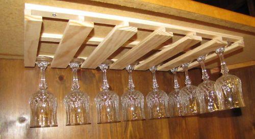 DIY Wine Glass Rack Under Cabinet  24 wine glass stemware wood holder rack under cabinet bar