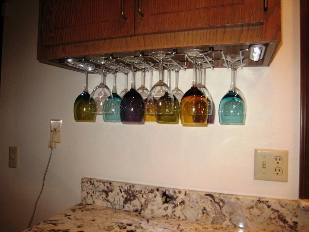 DIY Wine Glass Rack Under Cabinet  Kitchen Fancy Under Cabinet Wine Glass Rack For Cool