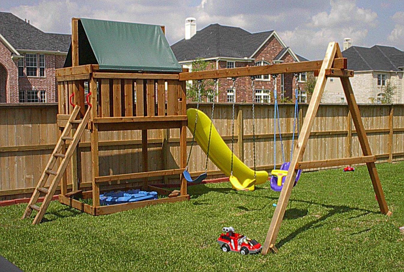 Do It Yourself Backyard Playsets  swing set plans do it yourself wood swing sets plans