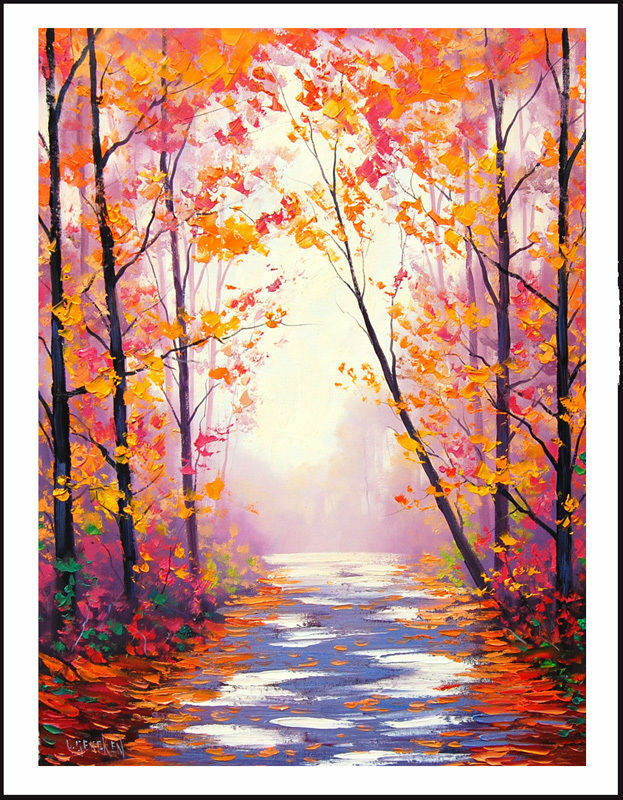 Fall Landscape Painting  AUTUMN OIL PAINTING IMPRESSIONIST TREES PAINTING TRAIL