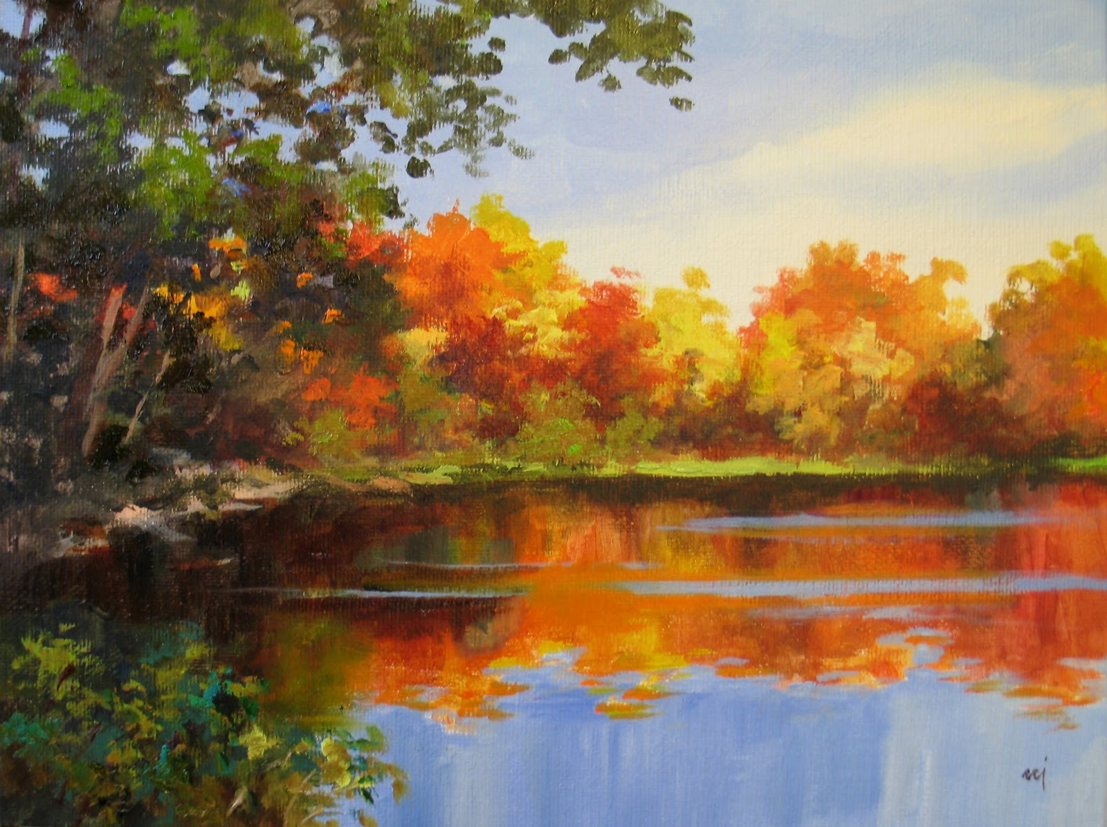 Fall Landscape Painting  Nel s Everyday Painting Fall Cove Demo Painting SOLD