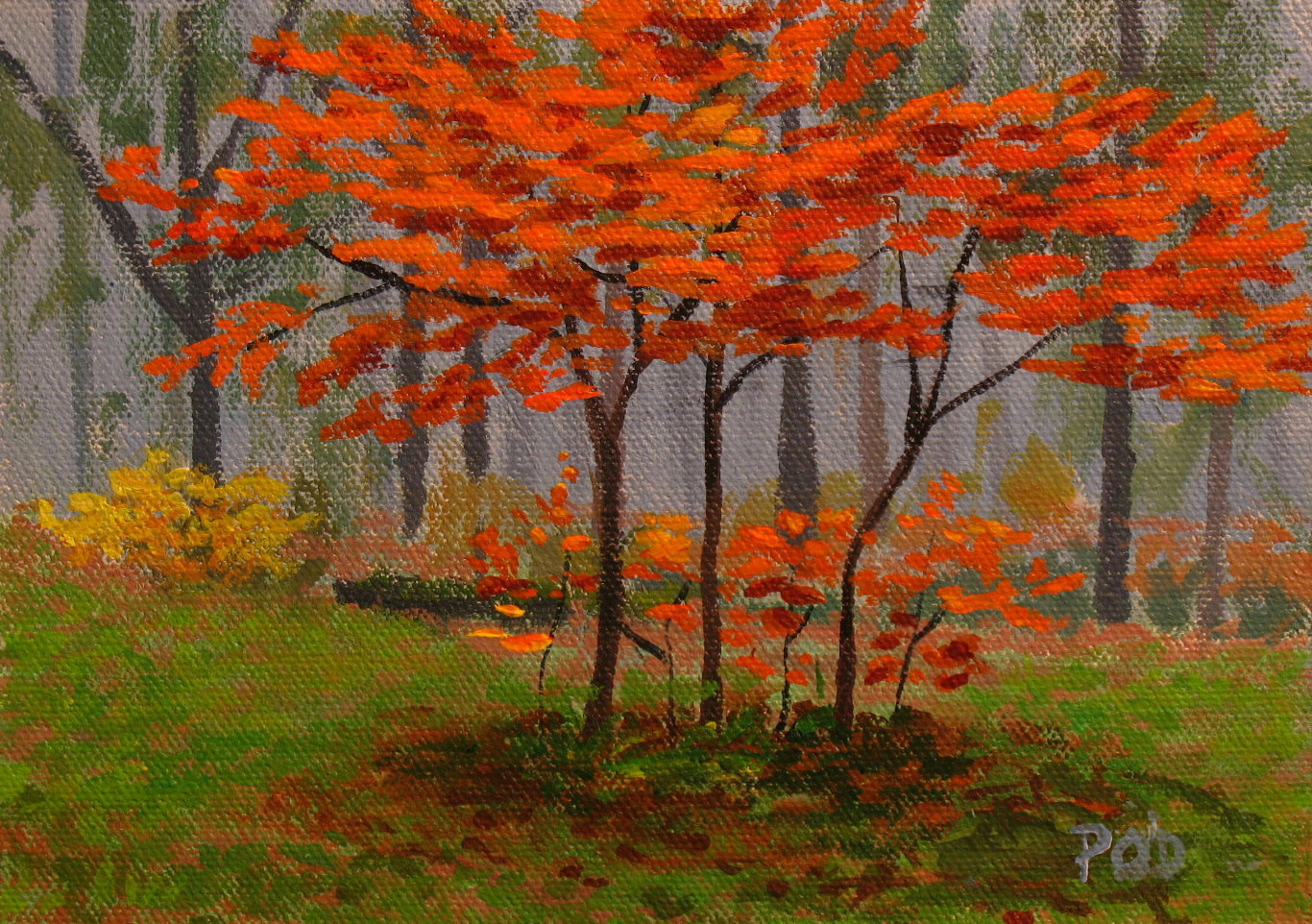 Fall Landscape Painting  Acrylic painting autumn landscape young trees