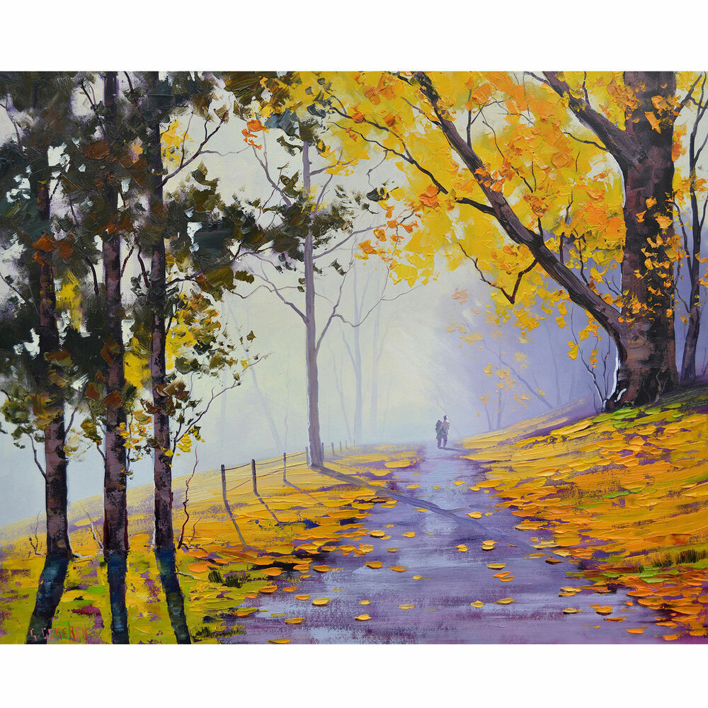 Fall Landscape Painting  YELLOW FALL PAINTING AUTUMN TREES LANDSCAPE Yellow Wall