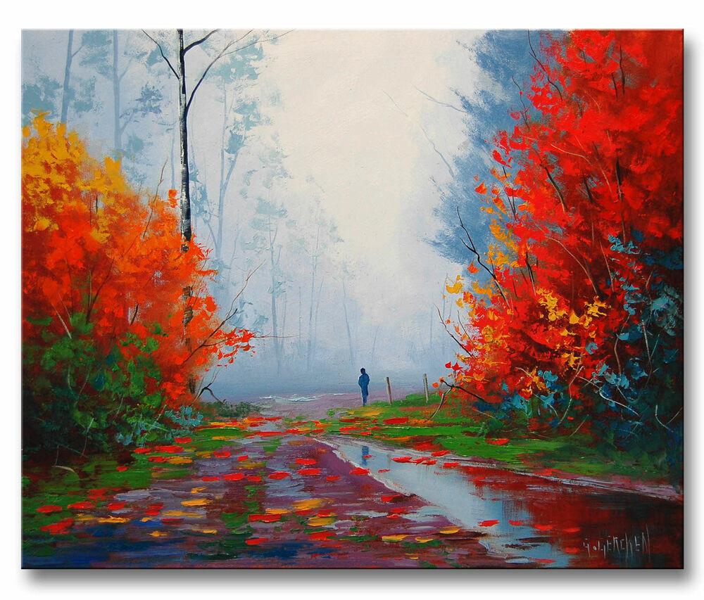 Fall Landscape Painting  LARGE RAINY FALL PAINTING AUTUMN LANDSCAPE IMPRESSIONISM