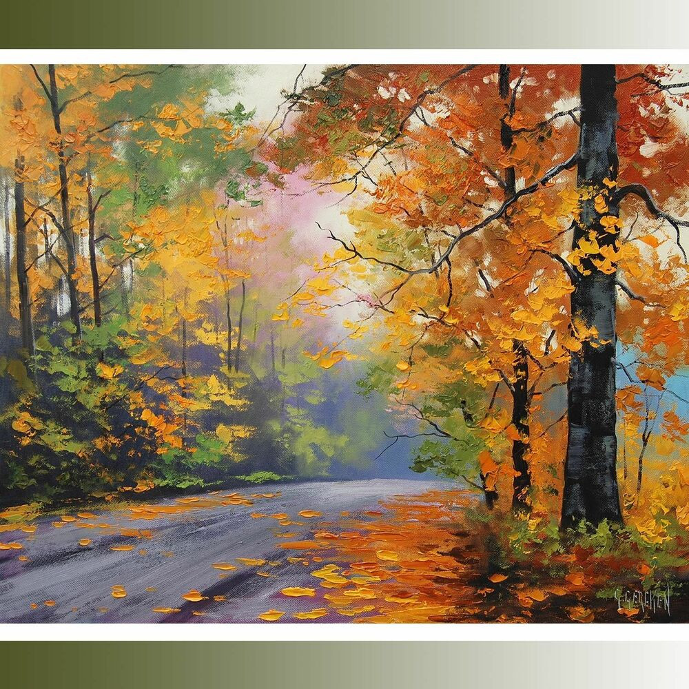 Fall Landscape Painting  LARGE Autumn Oil painting FALL TREES ROAD TRAIL