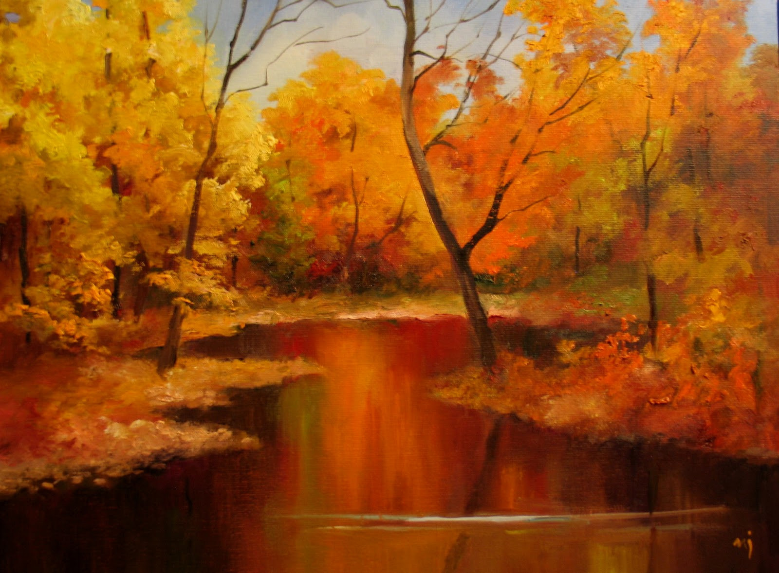 Fall Landscape Painting  Nel s Everyday Painting Autumn Landscape Demo SOLD
