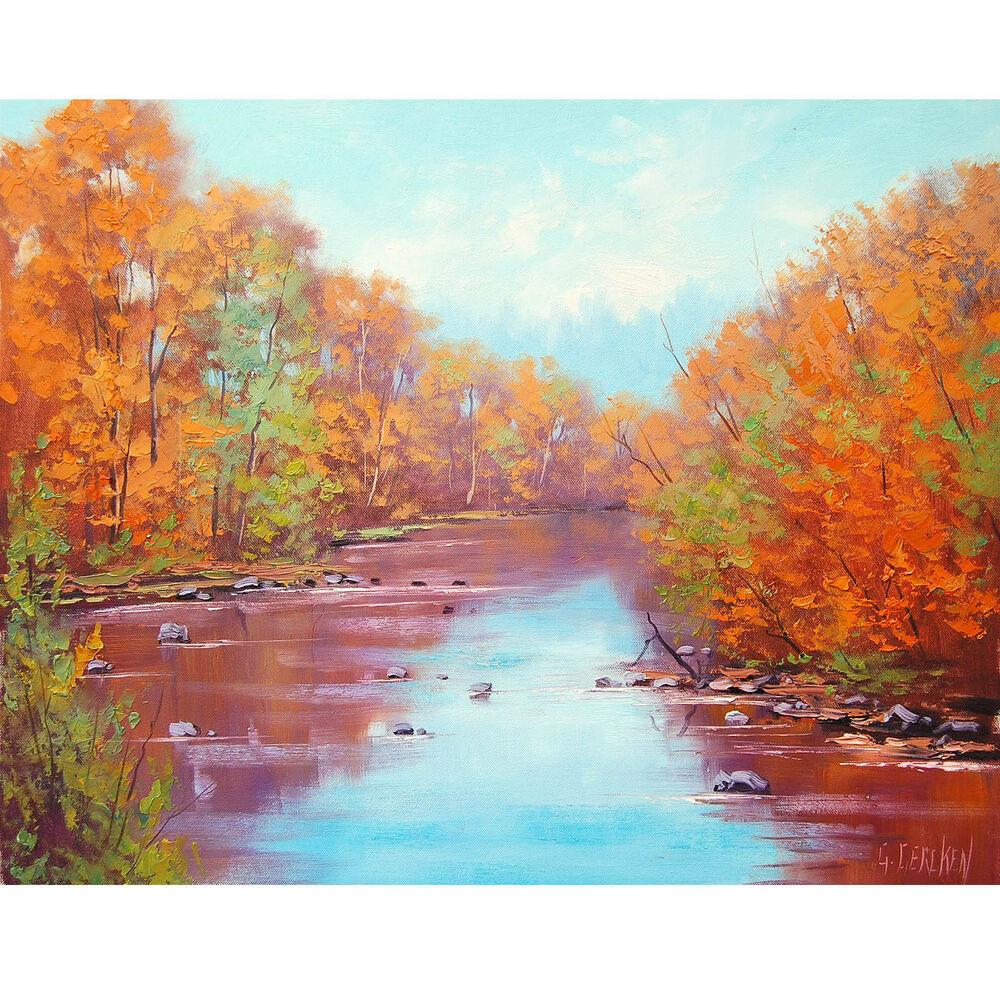 Fall Landscape Painting  RED ORANGE AUTUMN RIVER FALL LANDSCAPE IMPRESSIONISM FINE