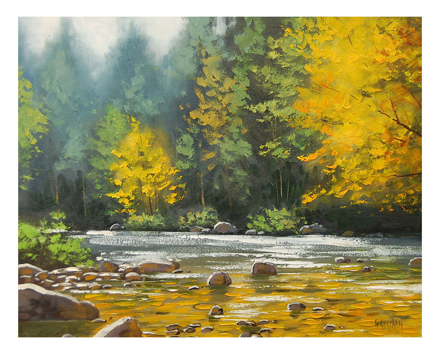 Fall Landscape Painting  Autumn OIL PAINTING River Impressionist Landscape Fall Art by