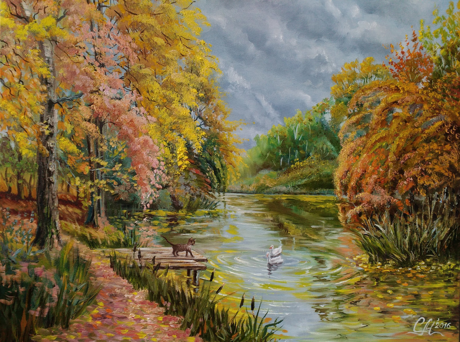 Fall Landscape Painting  Autumn painting Fall landscape oil painting Impressionism