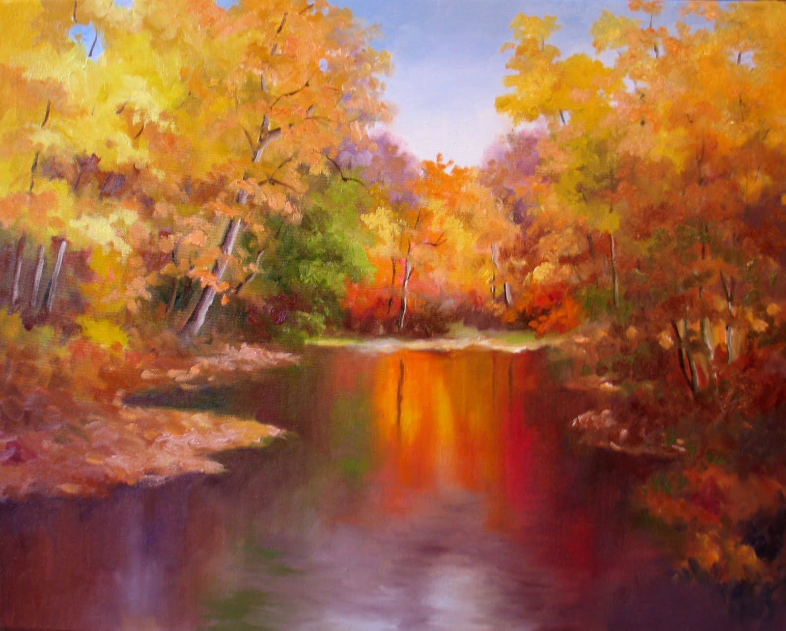Fall Landscape Painting  Nel s Everyday Painting 3 6 11 3 13 11