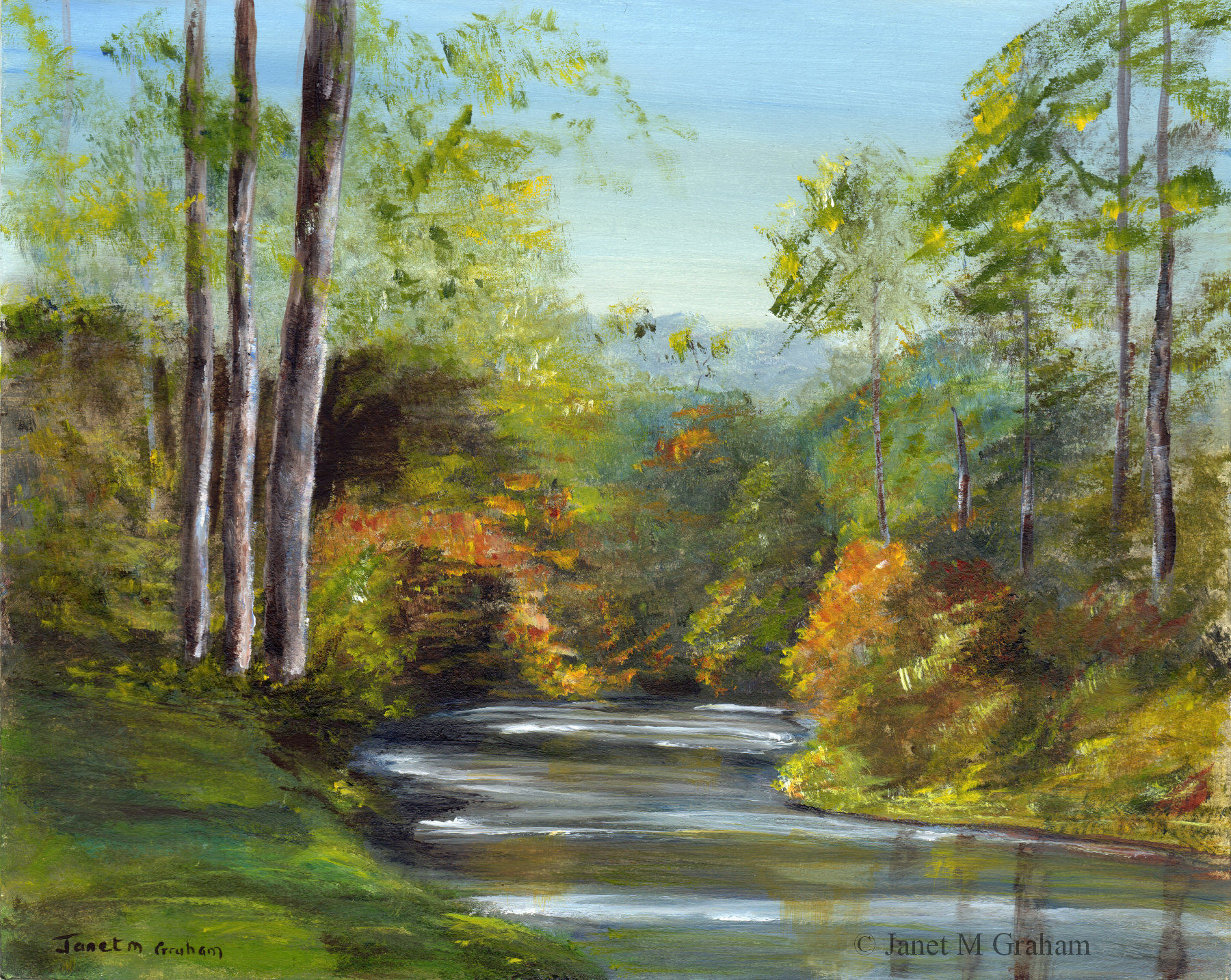 Fall Landscape Painting  Autumn River Fall Art Painting Landscape Trees SFA