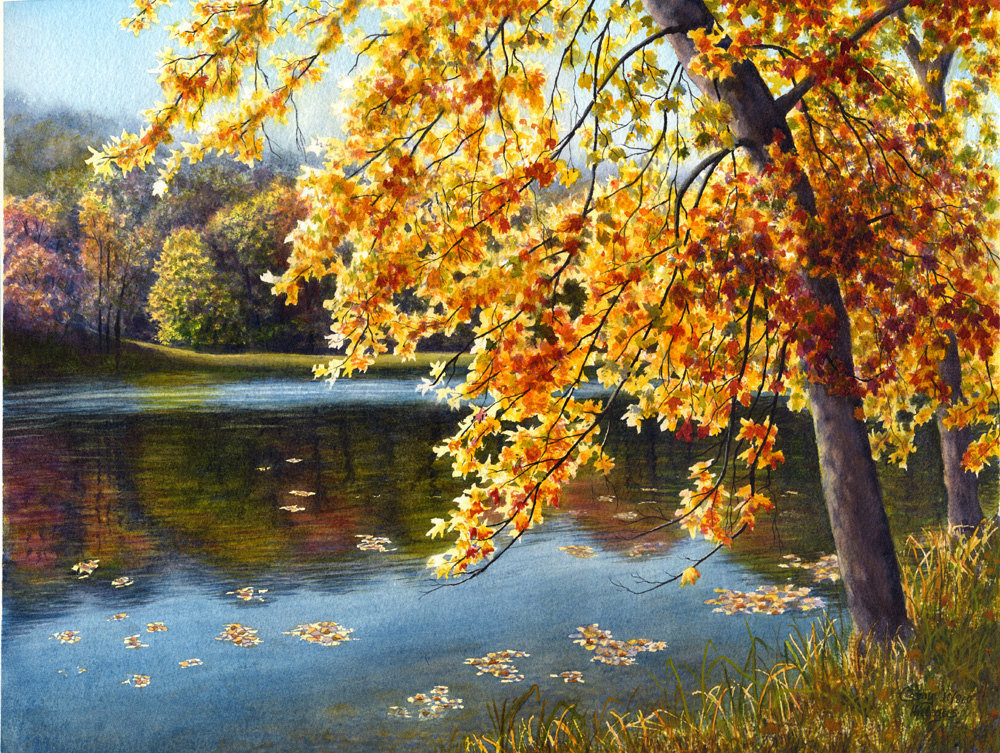 Fall Landscape Painting  Autumn lake watercolor landscape painting print by Cathy