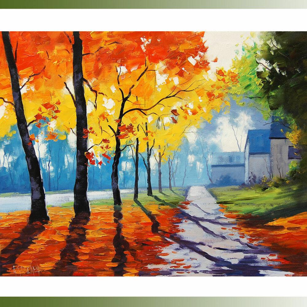 Fall Landscape Painting  LARGE AUTUMN OIL PAINTING RIVER LANDSCAPE YELLOW COLOUR