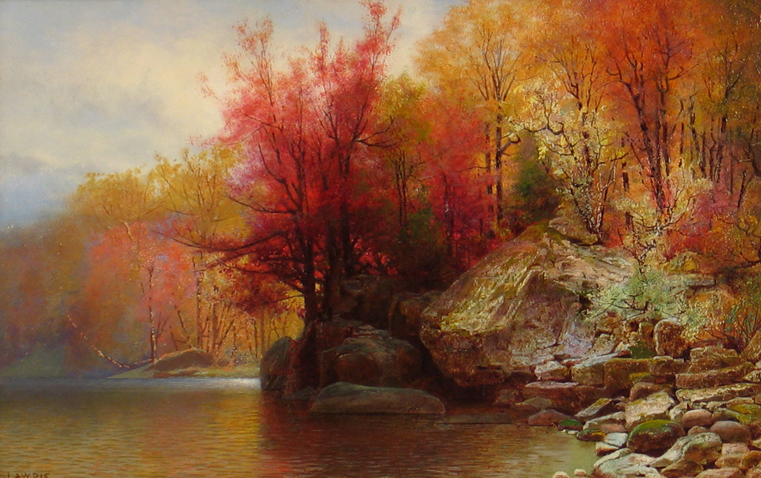 Fall Landscape Painting  19th Century American Autumnal Paintings