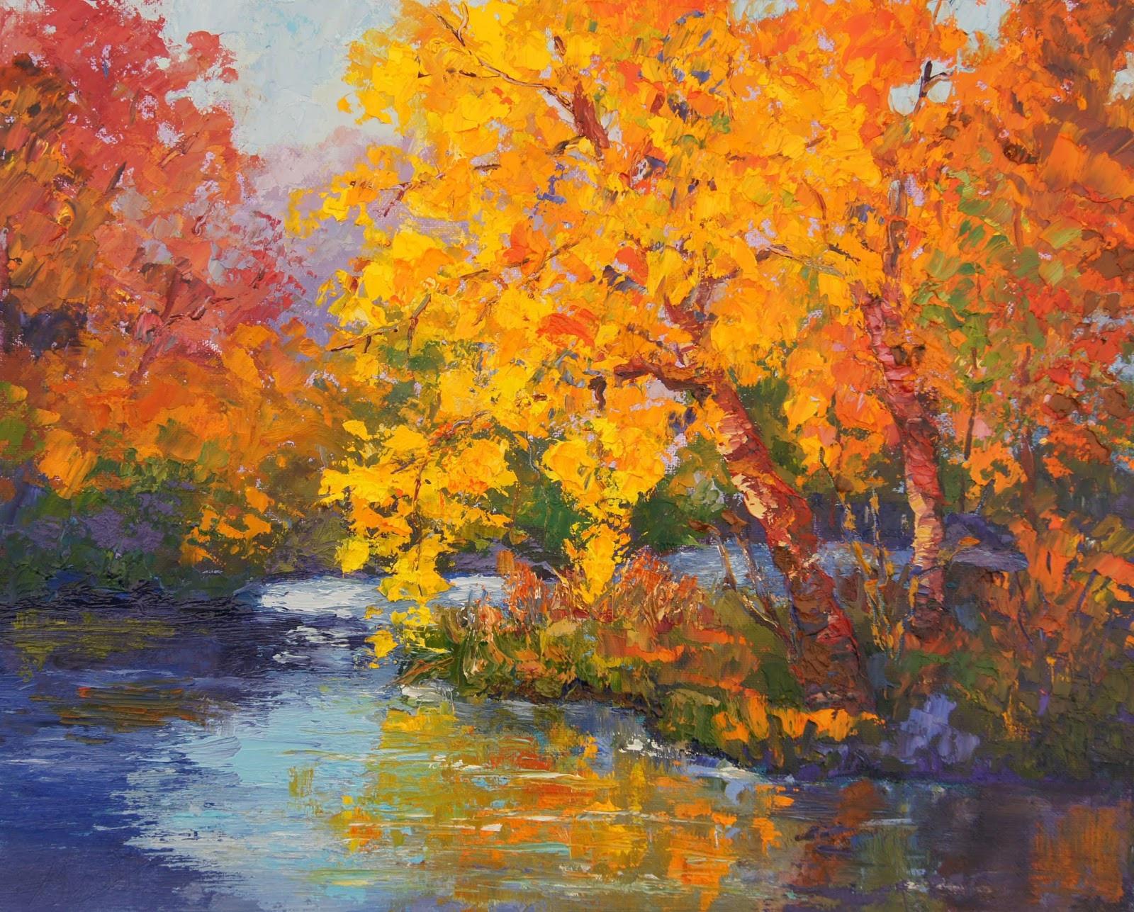 Fall Landscape Painting  Palette Knife Painters International Impressionist