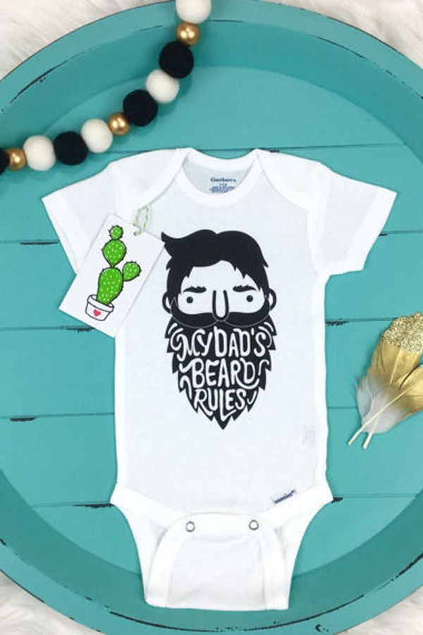 First Father'S Day Gift Ideas From Baby Boy  Hipster Baby esie Dad Beard esie First Fathers Day