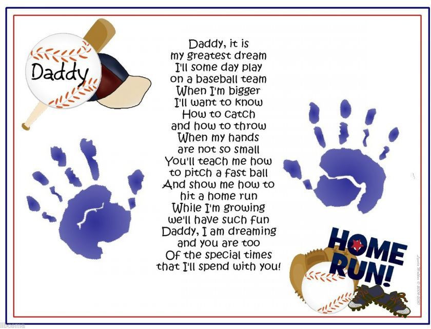 First Father'S Day Gift Ideas From Baby Boy  DADDY Teach Me Poem BASEBALL Handprints Fathers Day