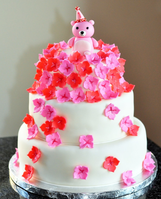Flowers Birthday Cake  Sweet Kat s Creations Teddy Bear Flower Cake