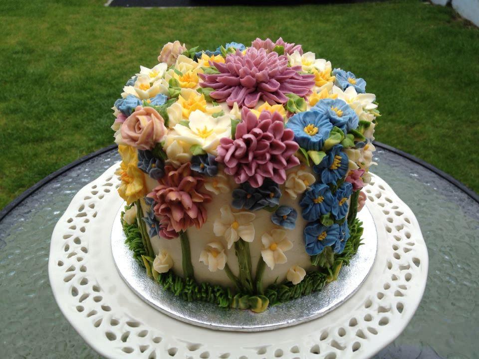 Flowers Birthday Cake  Cindy Adkins Art Books Tea Amazing Cakes