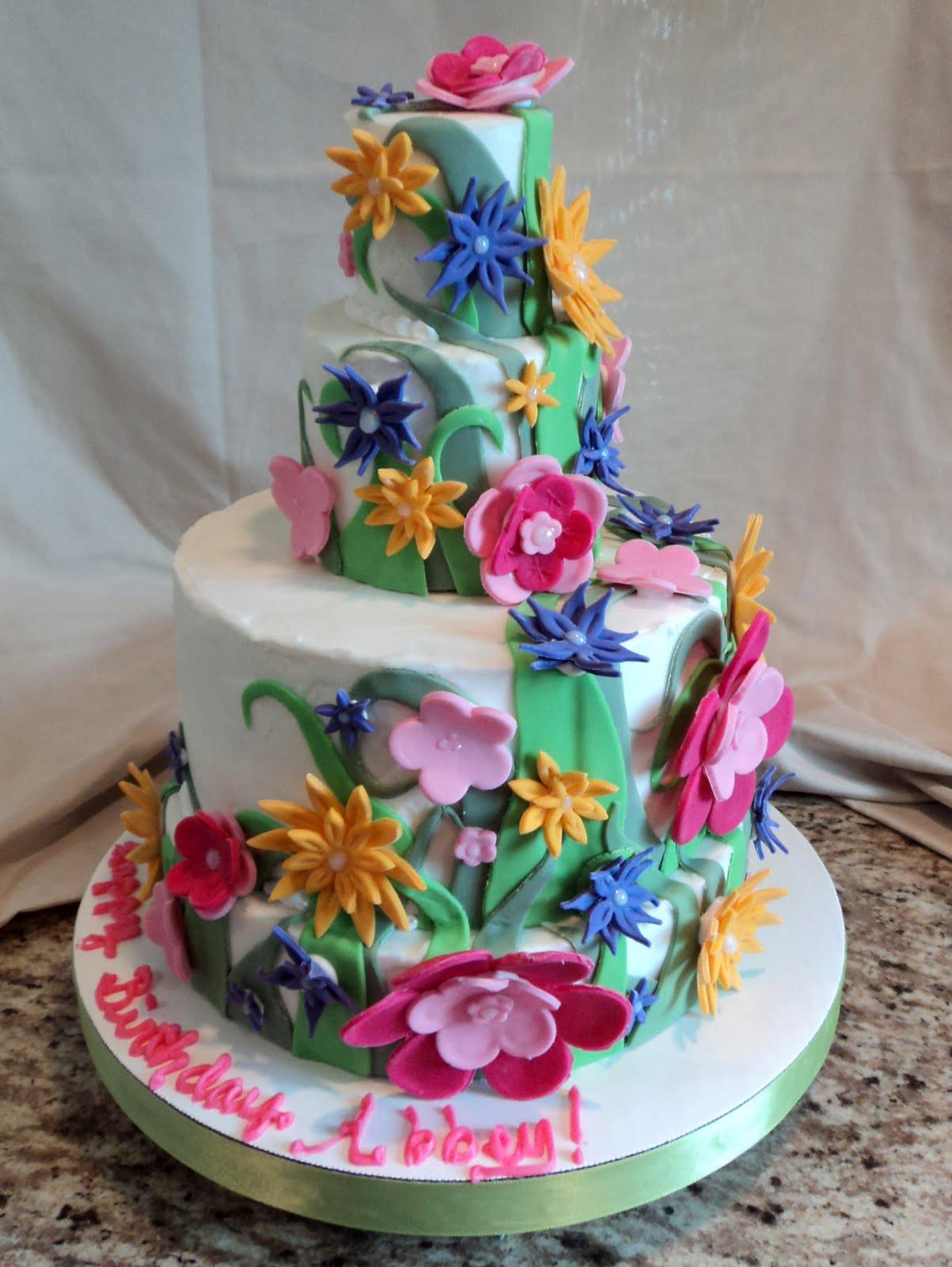 Flowers Birthday Cake  Delectable Cakes Flower Birthday Cake