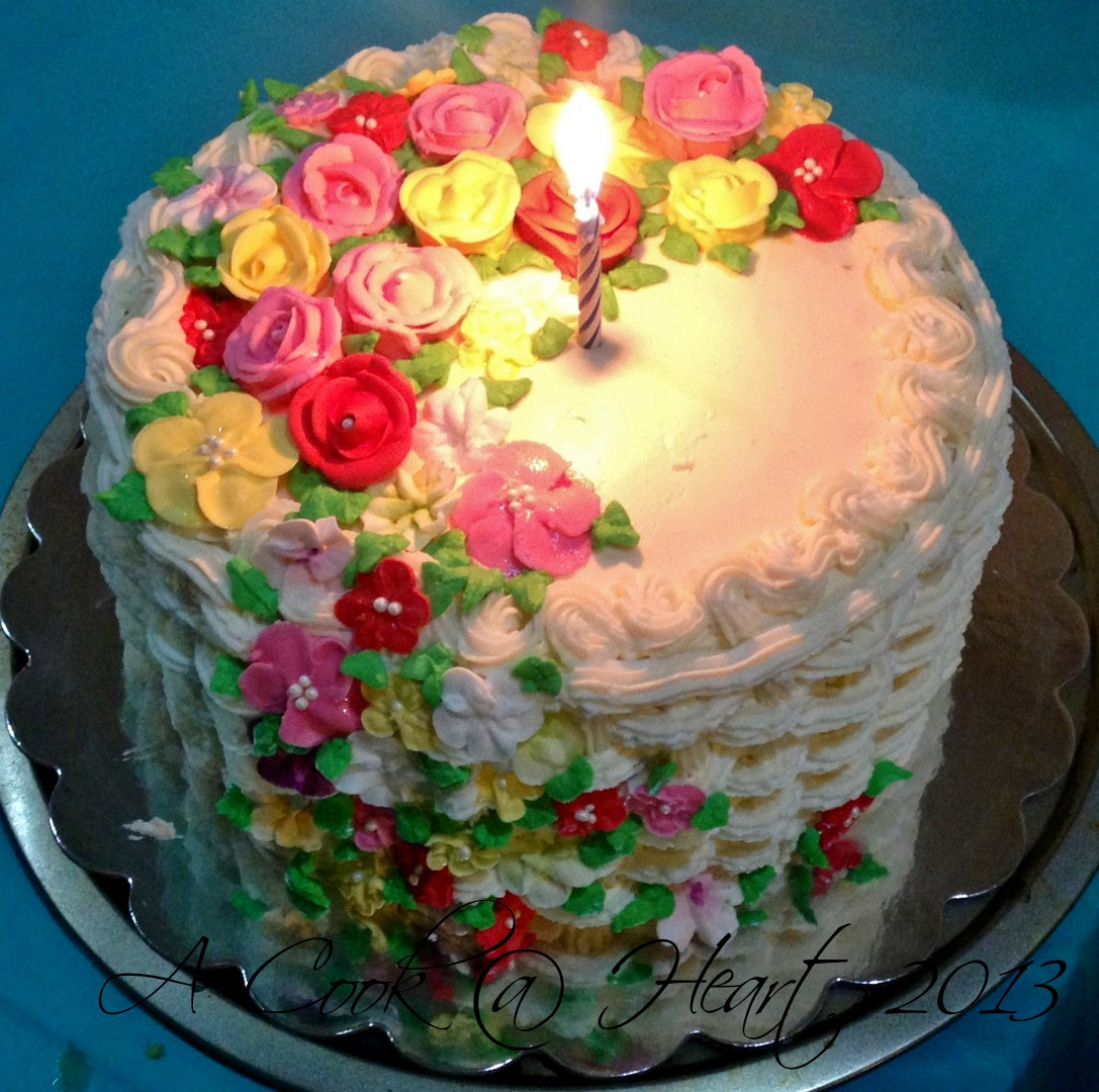 Flowers Birthday Cake  A Cook Heart A basket cake of flowers