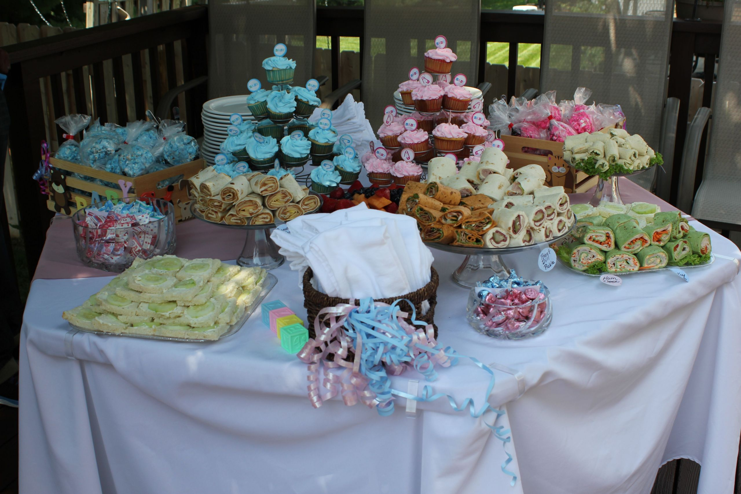 Food Ideas For Baby Gender Reveal Party  Gender Reveal Party food table