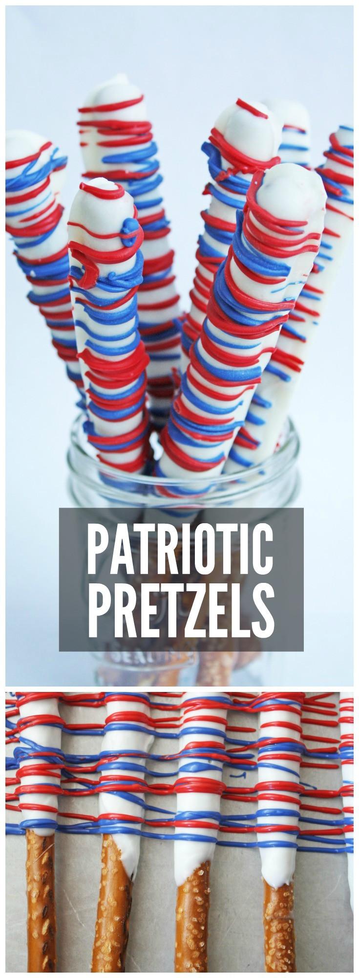 Fourth Of July Pretzels  Red White & Blue Pretzel Rods