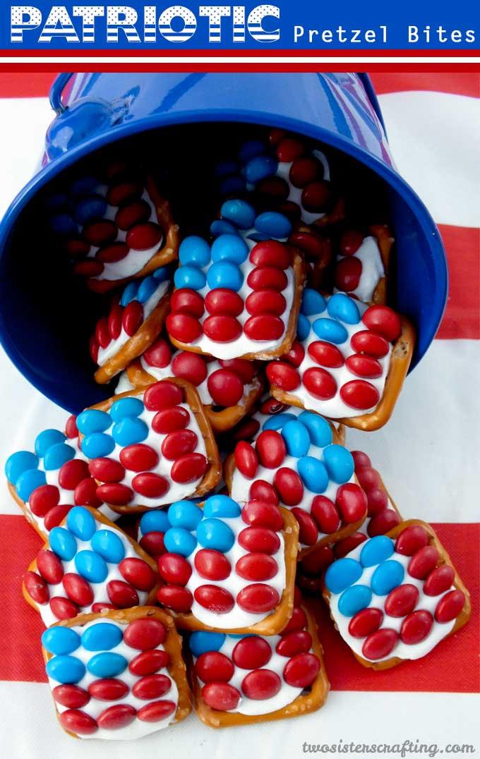 Fourth Of July Pretzels  Patriotic Pretzel Bites Two Sisters Crafting