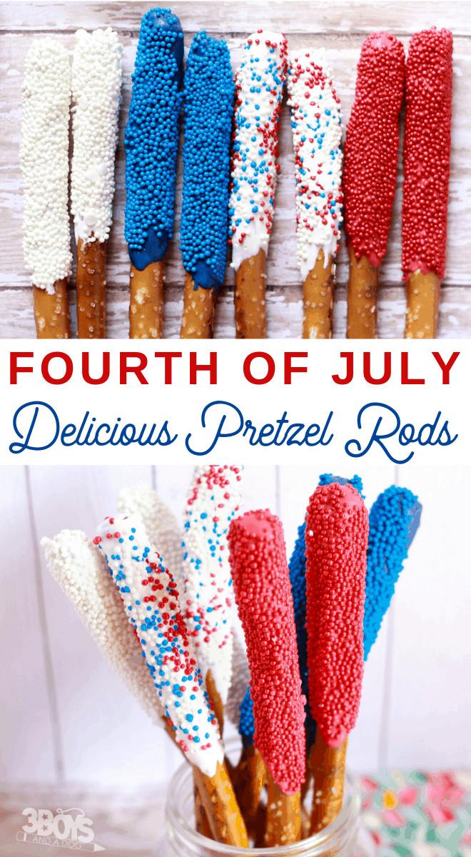 Fourth Of July Pretzels  Fourth of July Pretzel Sticks – Dessert That Won't Melt in