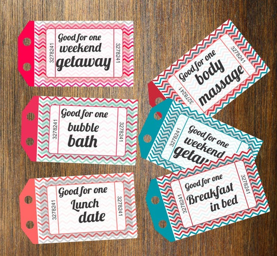 Free Gift Ideas For Boyfriend  INSTANT DOWNLOAD Printable Love Coupons Gift for by dasqmobi