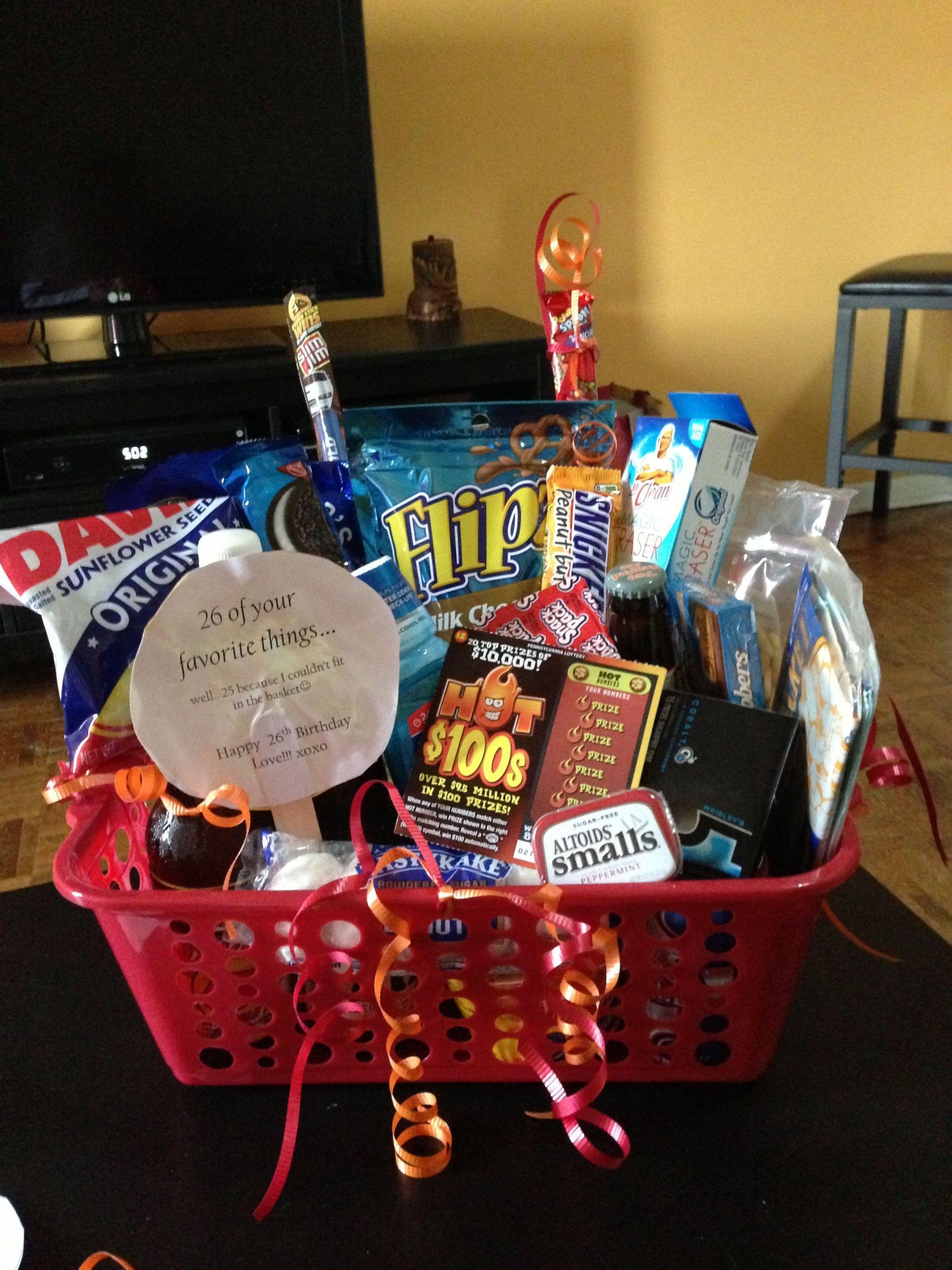 Free Gift Ideas For Boyfriend  Boyfriend birthday basket 26 of his favorite things for