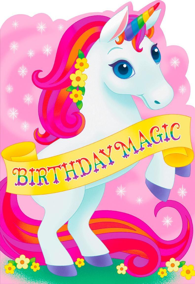 Free Printable Kids Birthday Cards  Birthday Magic Unicorn Jumbo Birthday Card 16 25