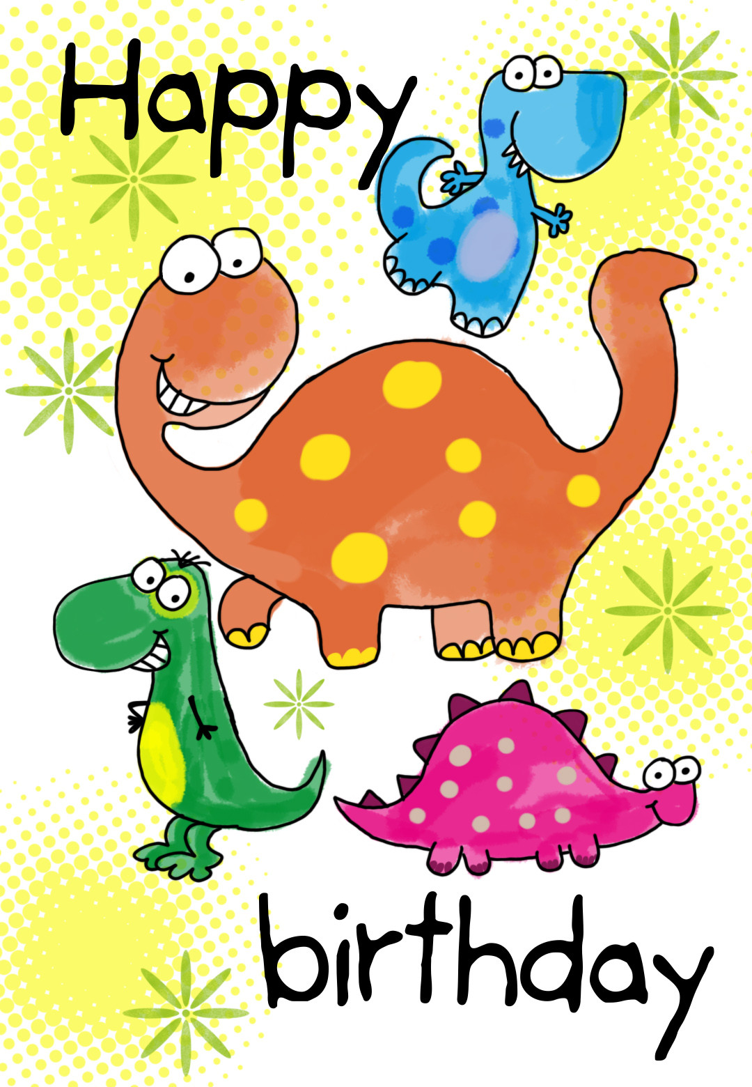 Free Printable Kids Birthday Cards  Four Cute Dinosaurs Birthday Card
