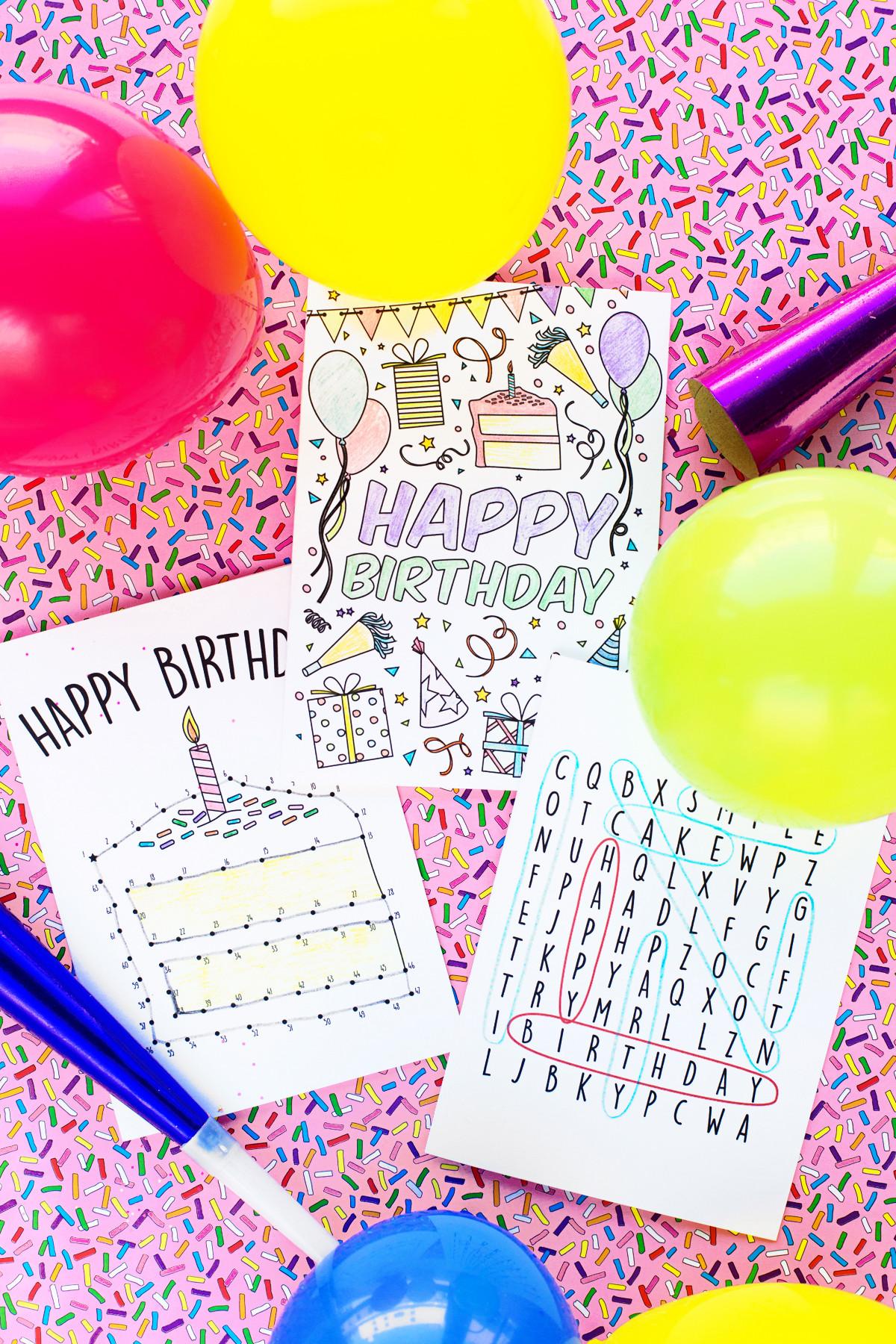 Free Printable Kids Birthday Cards  Free Printable Birthday Cards for Kids Studio DIY