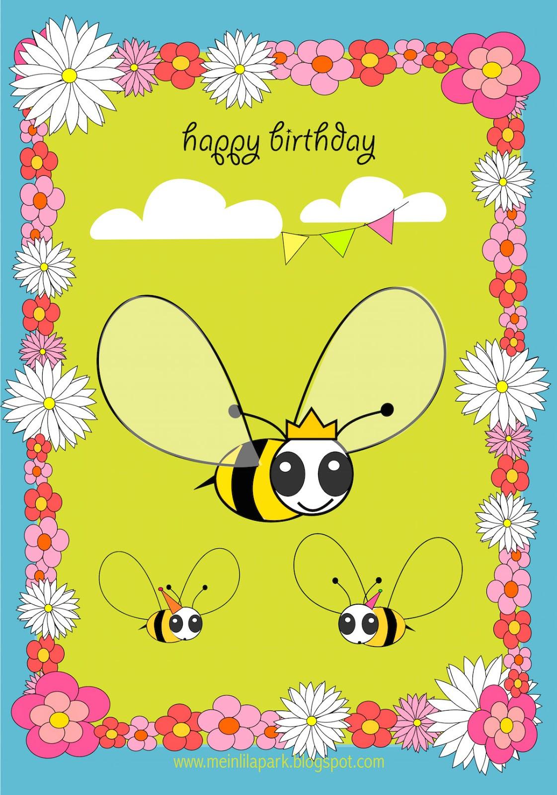 Free Printable Kids Birthday Cards  Free printable Happy Birthday card for kids ausdruckbare