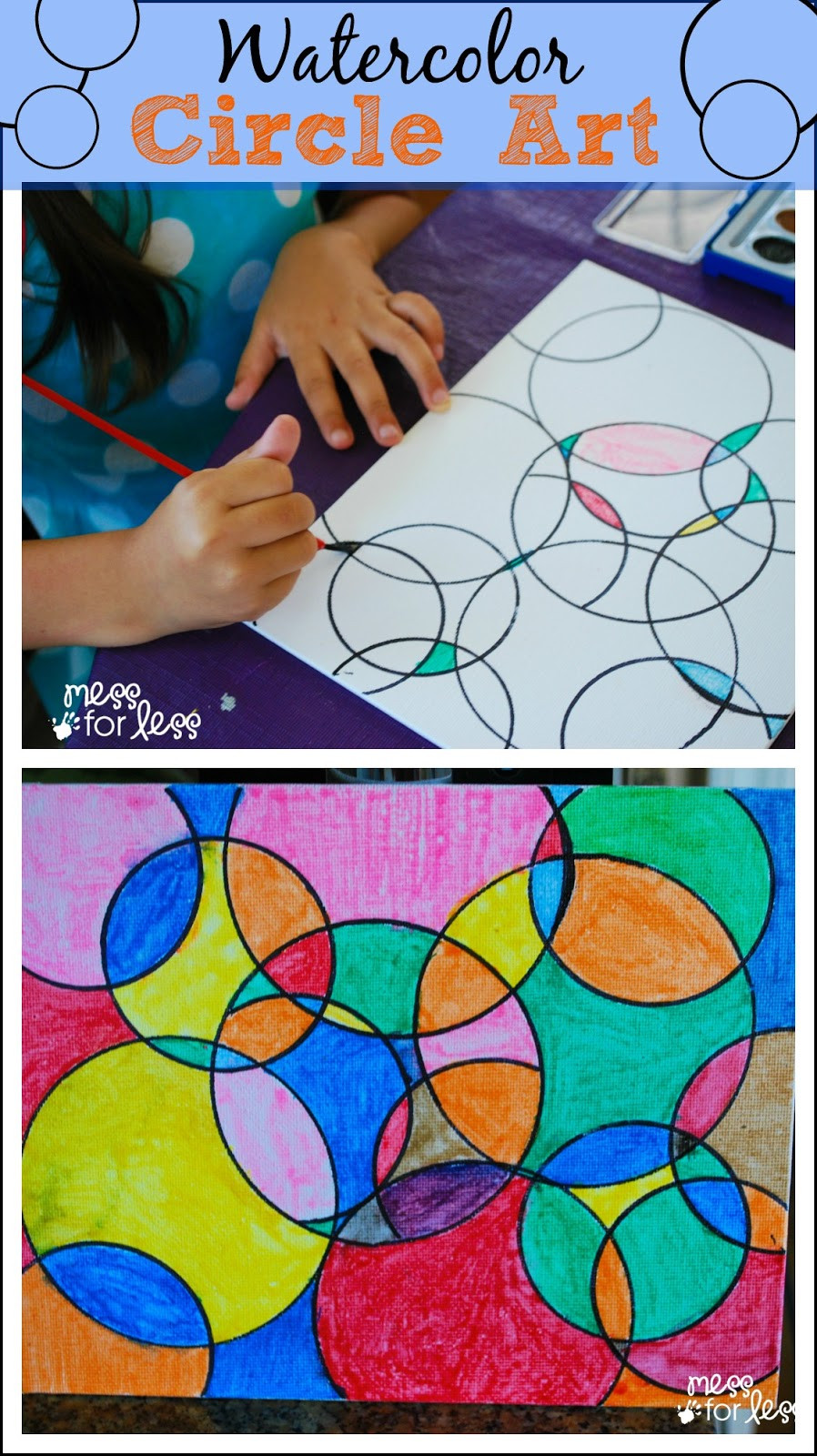 Fun Art Activities For Kids  Watercolor Circle Art Mess for Less
