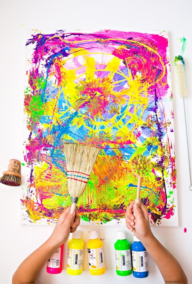 Fun Art Activities For Kids  hello Wonderful CLEANING BRUSHES PAINTING WITH KIDS
