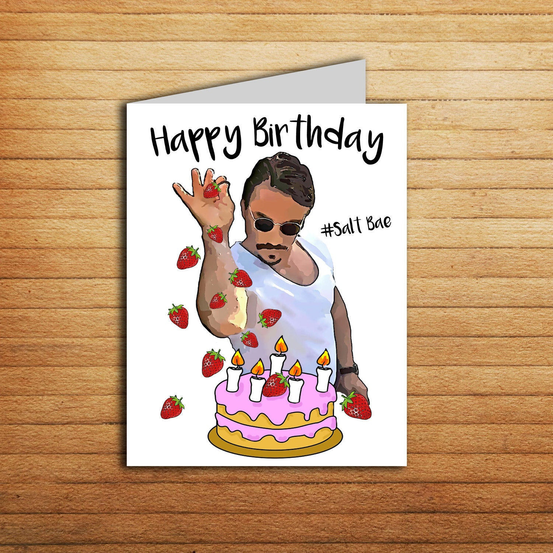 Funny Birthday Cards To Print  Salt Bae Birthday Card Printable Funny Birthday Card for
