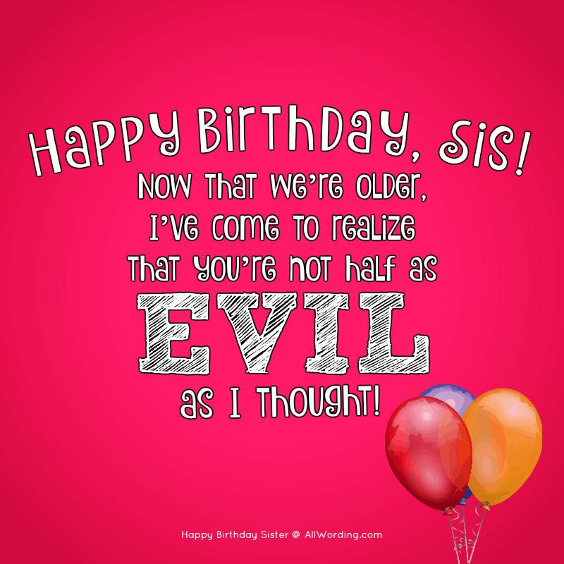 Funny Sister Birthday Wishes  Happy Birthday Sister 50 Birthday Wishes For Your