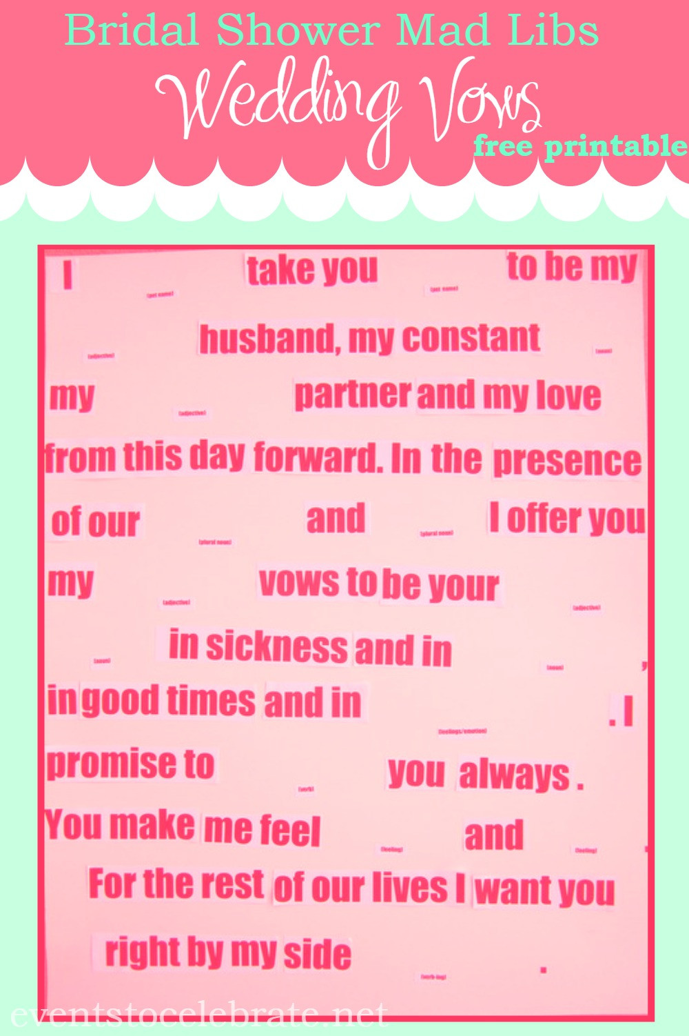 Funny Wedding Vows  Mad Libs Wedding Vows events to CELEBRATE