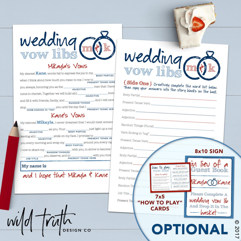 Funny Wedding Vows  Funny Wedding Vows Mad Lib Printable Bridal Shower Game