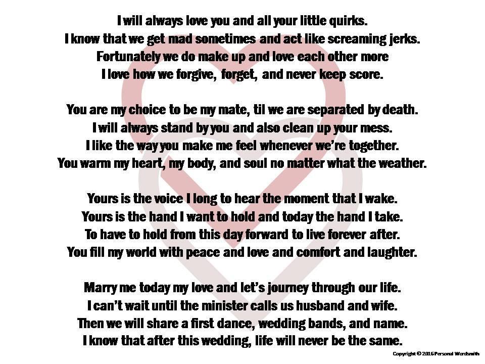Funny Wedding Vows  Funny Wedding Vows Digital Print Marriage Poem Download