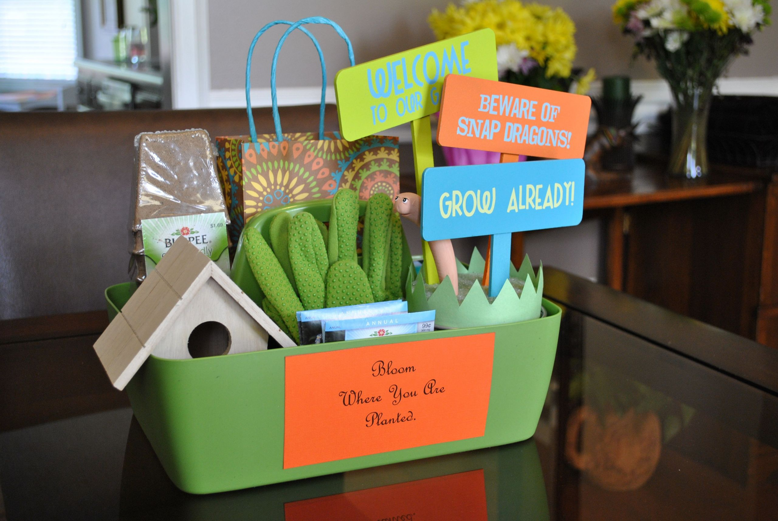 """Garden Themed Gift Basket Ideas  """"New Home Goodbye Gift Basket"""" To help """"Plant Your Roots"""