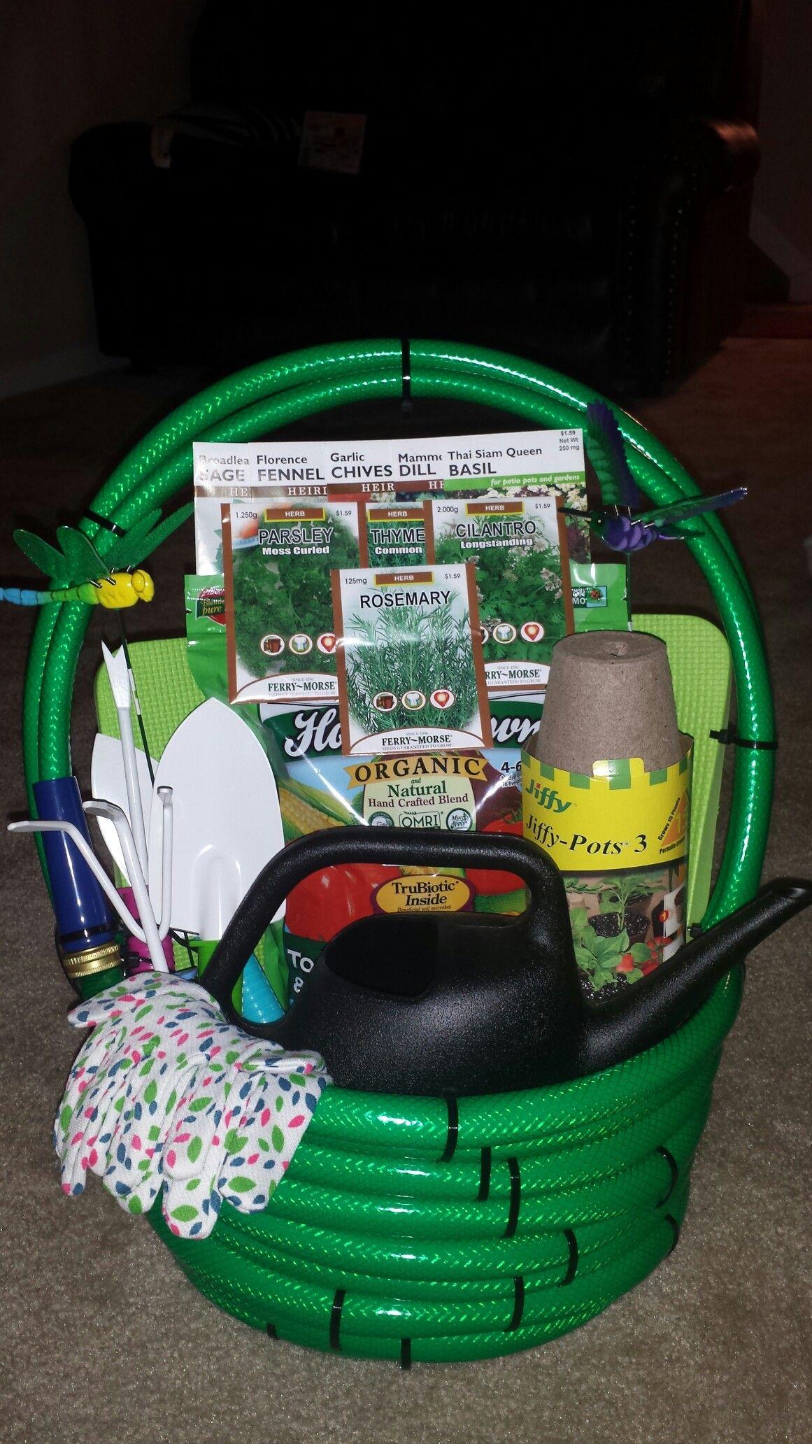 Garden Themed Gift Basket Ideas  Water Hose Garden Basket