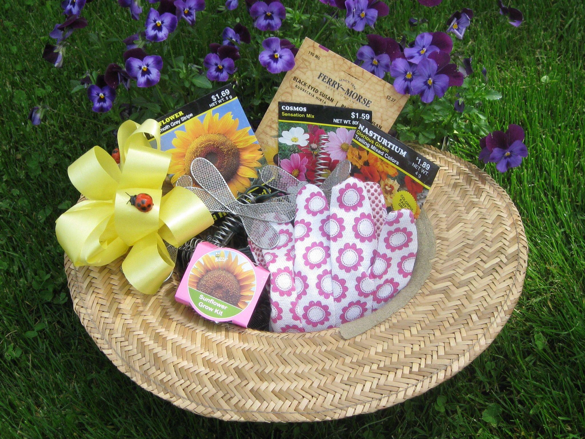 Garden Themed Gift Basket Ideas  Sunhat t basket