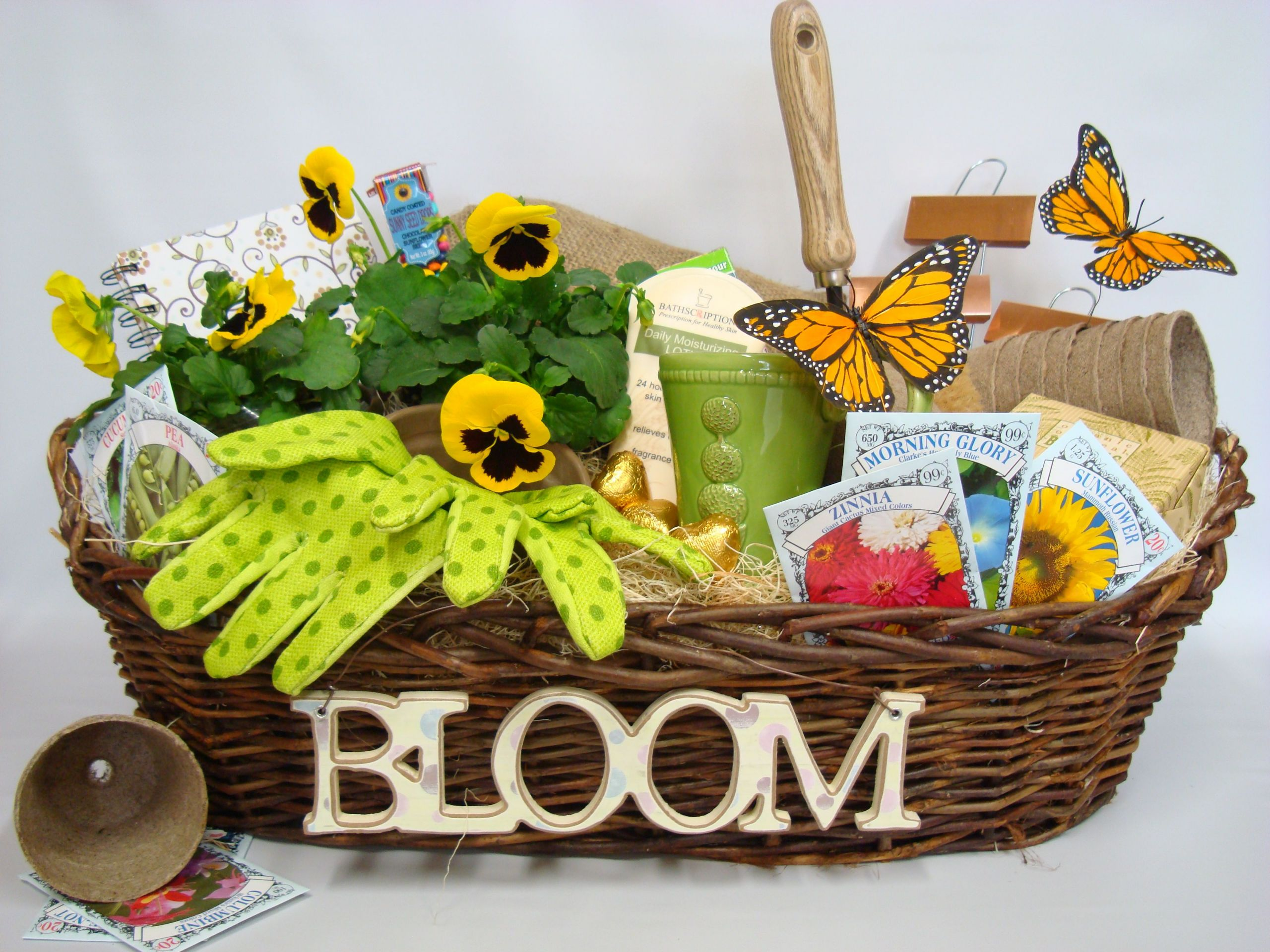 Garden Themed Gift Basket Ideas  Attaching wooden letters is a good idea as opposed to