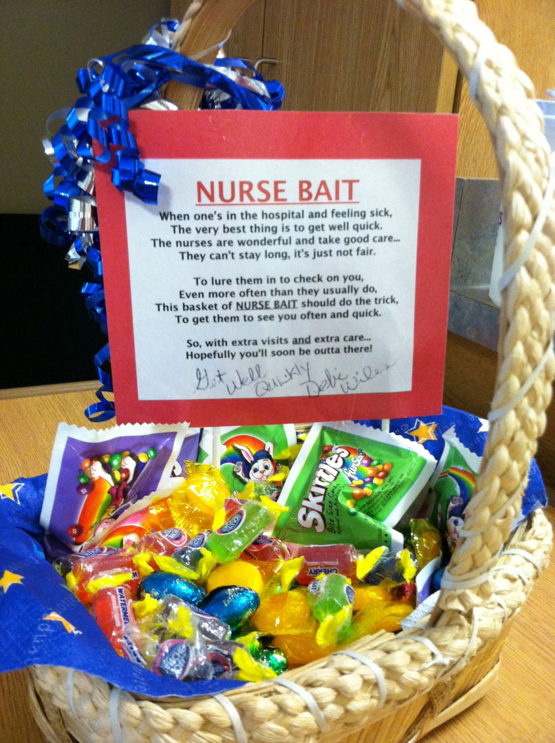 Gift Basket For Child In Hospital  Nurse Bait to bring to sick in hospital so the nurses