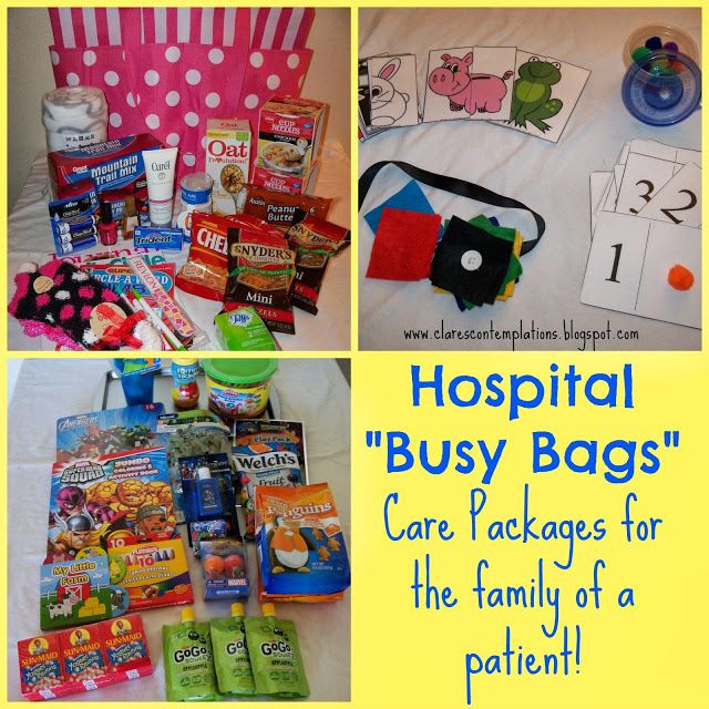 "Gift Basket For Child In Hospital  Hospital ""Busy Bags"" often the families of a chronically"